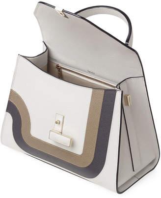 Valextra Iside Medium Striped Top-Handle Bag