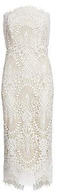 Badgley Mischka Women's Strapless Lace Cocktail Dress