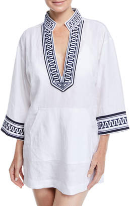 Tory Burch Tory Embroidered Linen Coverup Tunic