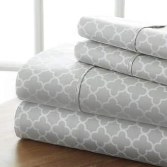 Noble Linens Ultra Soft 4 Piece Quatrefoil Bed Sheet Set