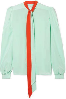 Givenchy Pussy-bow Silk Crepe De Chine Blouse - Mint