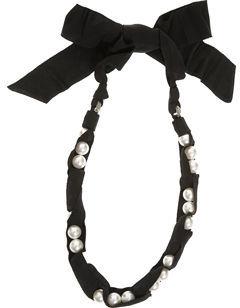 Lanvin Pearl Ribbon Necklace