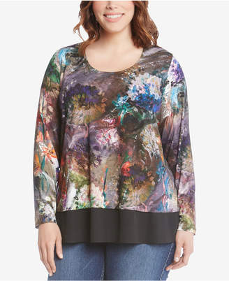 Karen Kane Plus Size Printed Contrast-Hem Top