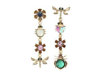 Betsey Johnson Mixed Bug Flower Charm Non-Matching Linear Earrings
