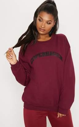 PrettyLittleThing Maroon Copenhagen Slogan Oversized Sweater