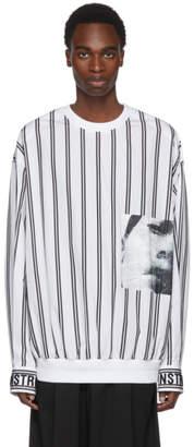 Juun.J White and Black Striped Poplin Pullover