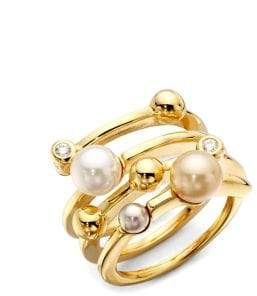 Majorica Women's 4MM Multicolor Round Pearl Endless Wrap Ring - Multi Gold - Size 6.5