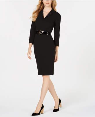 Calvin Klein Notched-Collar Belted Sheath Dress