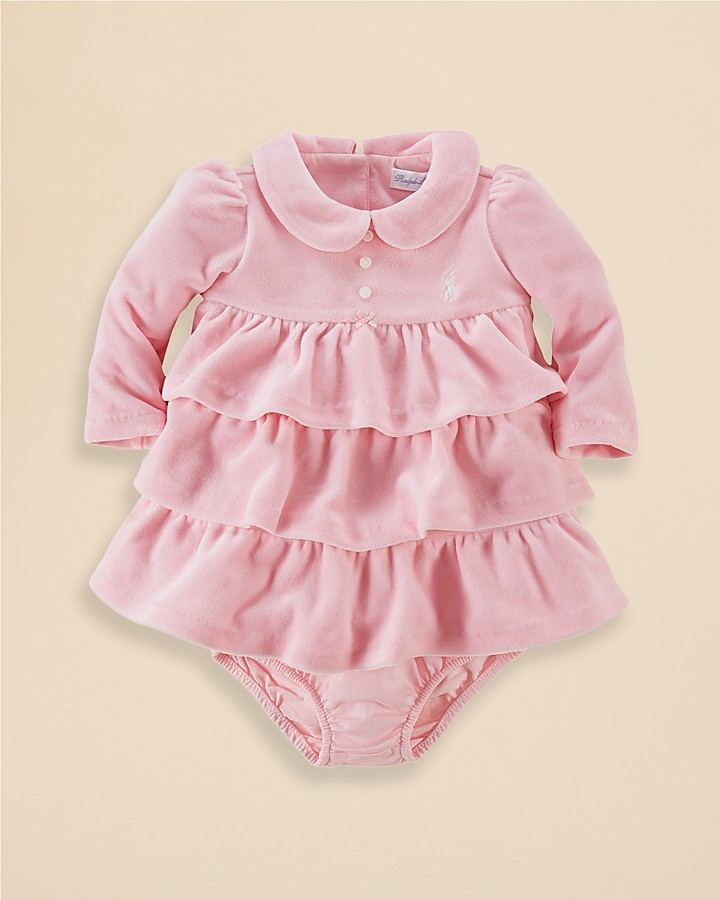 Ralph Lauren Infant Girls' Tiered Velour Dress - Sizes 3-9 Months