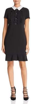 Karl Lagerfeld Paris Contrast-Collar Ruffle-Trim Dress
