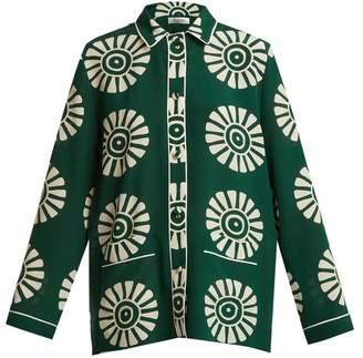 Valentino Medallion Print Silk Pyjama Shirt - Womens - Green Print