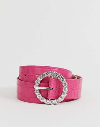 Asos Design DESIGN circle rhinestone waist and hip belt in pink croc