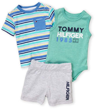 Tommy Hilfiger Newborn Boys) 3-Piece Logo Bodysuit & Sweatshorts