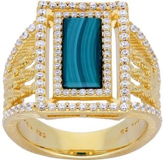 Judith Ripka Sterling & 14K Clad Green Malachite Ring