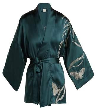 Morpho + Luna - Bella Foliage Embroidered Satin Kimono Robe - Womens - Dark Green