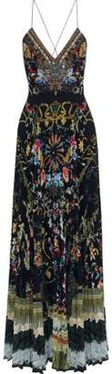 Camilla Dancing In The Dark Crystal-Embellished Pleated Printed Silk Maxi Dress
