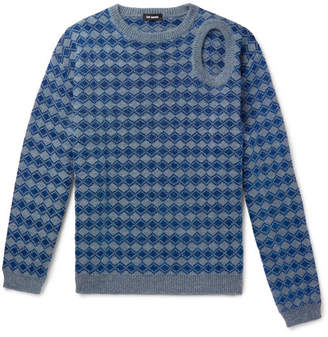 Raf Simons Cutout Metallic Knitted Sweater - Men - Blue