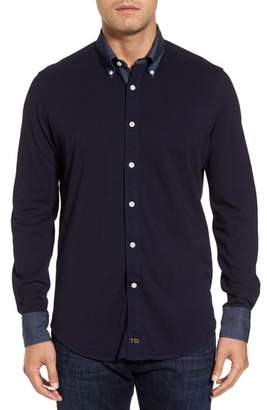 Thomas Dean Regular Fit Chambray Trim Jersey Shirt