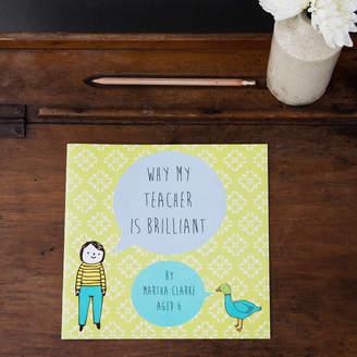 Lou Brown Designs Personalised Teacher Gift Book