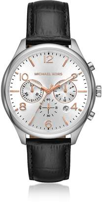 Michael Kors Merrick Black Crocodile-Embossed Leather Multi-function Watch