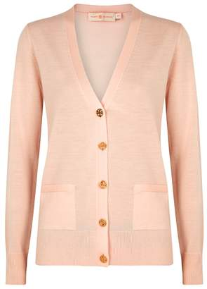 Tory Burch Madeline Light Pink Merino Wool Cardigan