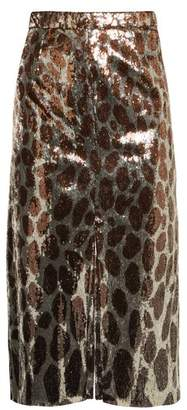 Marco De Vincenzo Sequin Embellished Midi Skirt - Womens - Copper