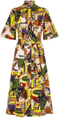 Burberry Archive Scarf Print Midi Shirt Dress