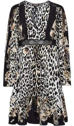 Roberto Cavalli Lace-Trimmed Leopard-Print Silk Dress