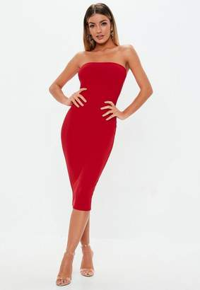 Missguided Red Bandeau Midi Dress