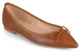 Co Brinley Womens Classic Bow Pointed Toe Casual Ballet Flats
