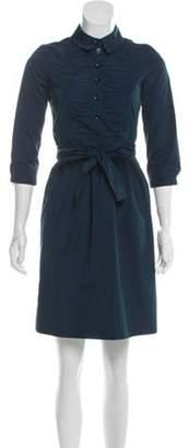 Burberry Pleated Mini Dress Teal Pleated Mini Dress