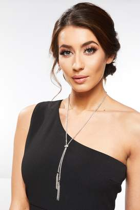 Quiz Silver Diamante Long Tassel Necklace