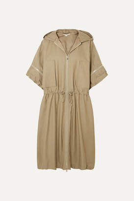 Stella McCartney Hooded Herringbone Cotton-blend Coat - Army green