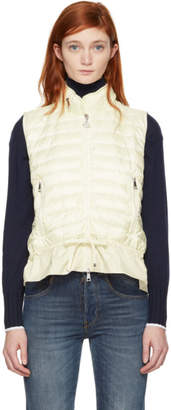 Moncler White Down Jersey Panel Vest