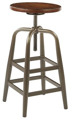Office Star AVE SIX by Products Sullivan Swivel Stool, Pewter and Walnut