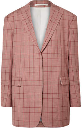 Calvin Klein Oversized Prince Of Wales Checked Wool Blazer - Claret