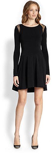 Elizabeth and James Bronson Mesh-Trimmed Flared Stretch Jersey Dress