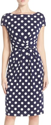 Women's Eliza J Polka Dot Jersey Sheath Dress $118 thestylecure.com