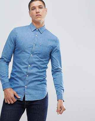 New Look regular fit denim shirt in light blue wash