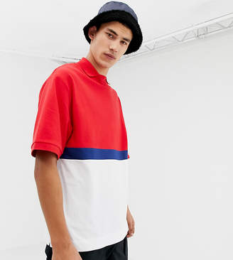 Collusion COLLUSION Tall color blocked polo in blue and red