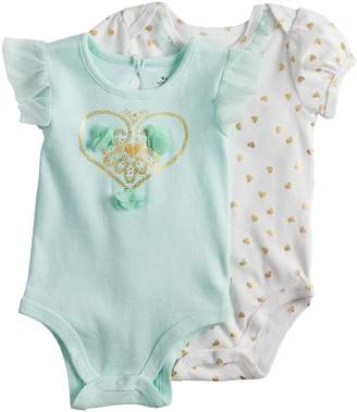 Baby Starters Baby Girl 2-pk. Foiled Graphic & Heart Print Bodysuits