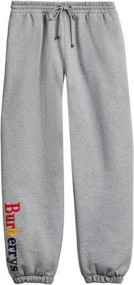 Burberry Embroidered Cotton Blend Sweatpants