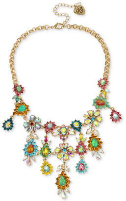 "Betsey Johnson Gold-Tone Multi-Stone Flower Statement Necklace, 15"" + 3"" extender"