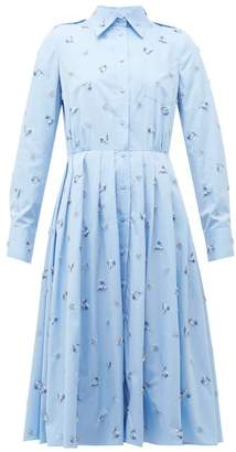 Prada Crystal Embellished Pleated Cotton Shirtdress - Womens - Light Blue