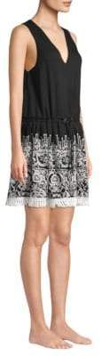 Jonathan Simkhai Embroidered Silk Crinkle Mini Dress