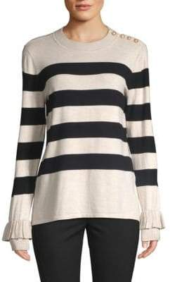 Striped Ruffled Sweater