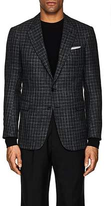 Cifonelli CIFONELLI MEN'S MONTECARLO CHECKED WOOL-BLEND TWO-BUTTON SPORTCOAT - BLACK SIZE 40 R