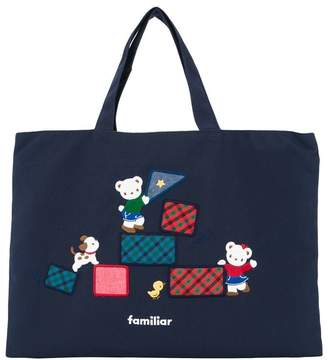 Familiar Lia and Fami embroidered denim tote bag