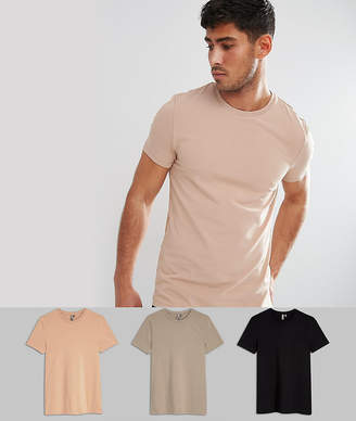 Asos DESIGN muscle fit t-shirt with crew neck 3 pack SAVE