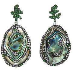 Arunashi Large Abalone Shell Earrings with Diamonds and Sapphires